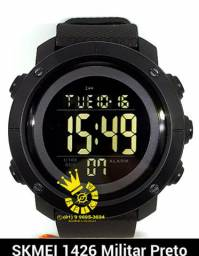 2cbaa10624b Relógio Militar Skmei 1426 Unissex Led Full Black A Prova D água Entrega  Grátis