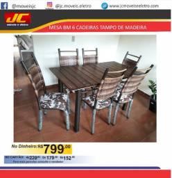 Mesa BM com 6 cadeiras tampo de madeira cc
