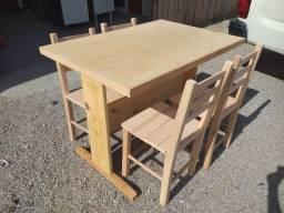 Título do anúncio: Mesa retangular, nova, madeira eucalipto, com pé central, natural ou com verniz.