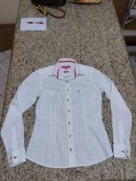 Camisa Dudalina Branca e Rosa com Abotuadura