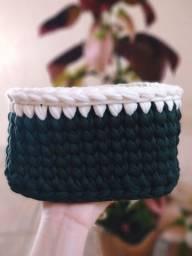Cesto fio de malha quadrado crochê ( sob encomenda)
