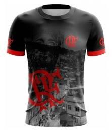 Camiseta Futebol Clube de Regatas do Flamengo Vermelho Preto e Cinza Masculino