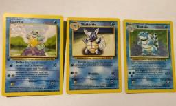 Pokemon cards: Blastoise, Wartortle e Squirtle da base set