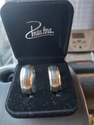 Aliança de Namoro Compromisso em Prata Royale G com Dois Filetes em Ouro