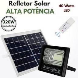 Refletor Led 100w Energia Solar Placa E Controle Prova Dagua