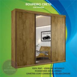 Guarda Roupas Casal com Espelho 100% MDF 3 Portas de Correr 6 Gavetas