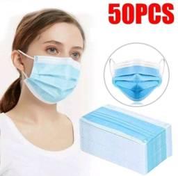 Título do anúncio: Máscara Descartável De Proteção Facial Tripla Caixa Com 50 Unidades