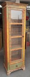 Cristaleira de 1 porta em madeira de demoliçao