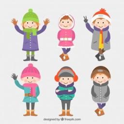 DOE roupas de frio p crianças calçados