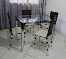 Título do anúncio: Mesa com 04 cadeiras em alumínio!!! Aproveite está Mega promoção!!!