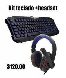 Kit Headset mais teclado luminoso