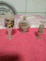 Jogo de 3 ânforas em vidro japan