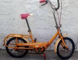 Bicicleta Antiga Caloi Berlineta Dobravel ? Amarela anos 70 - off
