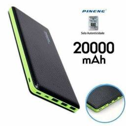 Carregador Portátil Pineng 20000mah Slim Preto Compativel Iphone 7, 8 e X (Original)