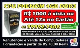 CPU Rápida Phenom X4 4GB Ddr3