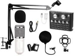 Microfone Condensador Professional + Placa de Som