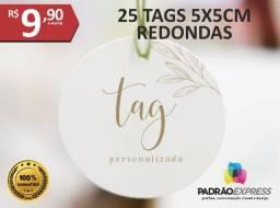 Fábrica de Tags personalizadas em formato redondo de 5x5 centímetros.