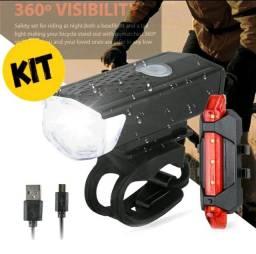 Título do anúncio: Kit Para Ciclismo Lanterna Farol Bike+Sinalizador Novo