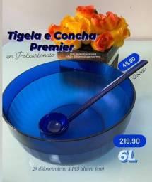 Tupperware Tigela Em Policarbnato Premier 6 Litros Azul Noite + Concha Kit 2 Peças