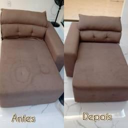 Higienização e lavagem a seco de sofá