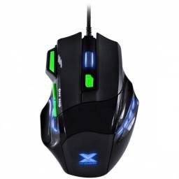 mouse gamer vx gaming black widow 2400 dpi  preto com verde usb