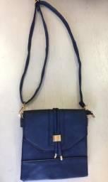 Bolsa feminina azul transversal couro ecológico