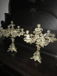 Candelábros em bronze 7 velas