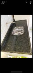 Pia de mármore e granito 1,40 x 0,60