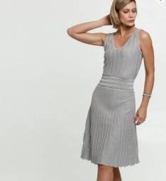 Vestido Midi Lurex Sem Manga, veste M, 42, cinza claro plissado