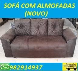 O Melhor Preço!!Lindo Sofa 3 Lugares Com Almofadas Novo Apenas 499,00
