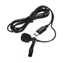 Microfone Lapela Tipo C Profissional Estéreo Som de Qualidade Condensado
