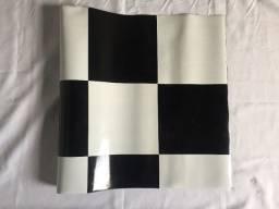 Título do anúncio: (Aceito cartão) Piso Xadrez Vinílico Quadriculado Preto Branco PVC Estampado