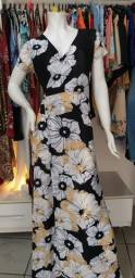 Vestido Transpassado Floral no Tecido Malha Fria Tamanho M