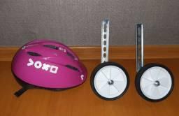 Kit Rodinhas de apoio lateral e capacete infantil Btwin Voxo