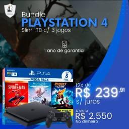 Playstation 4 Slim 1TB e 3 jogos - Novo com Garantia