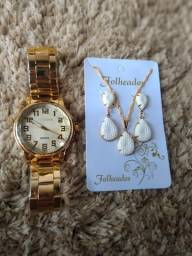 Kit relógios FEMININO+colar+brinco