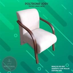 Poltrona Assento com Molas Tecido Linho Bege - NOVA - Pronta Entrega
