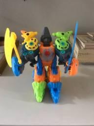 Conjunto brinquedos construção dinossauro 5 em 1 montagem