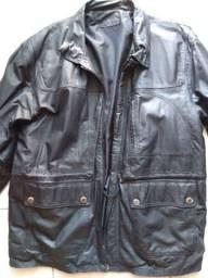Jaqueta masculina couro legítimo tamanho grande social, esportiva, motociclista