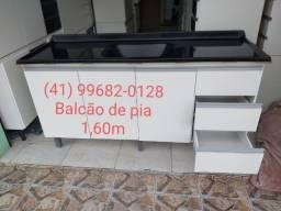 Pia e balcão de pia 1,60m com tampo de mármorite/NOVO