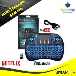 Mini Teclado Controle Sem Fio Para Smart Tv Tv Box Pc com Luz de LED