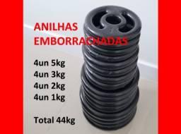Título do anúncio: 44kg de anilhas emborrachadas - Musculação Exercícios - Estado de novo