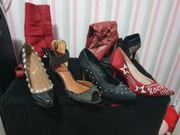 Lote de sapatos femininos usados