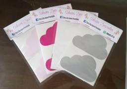 Adesivos para decoração de paredes - Nuvens - Cartela com 20 peças - diversas cores
