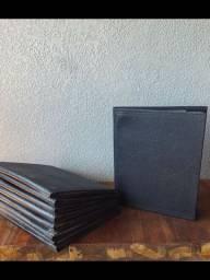 10 cardápios de couro / pasta com saquinhos preta