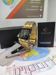 Relógio original Wwoor dourado, Resistente água 3bar, vidro hardlex