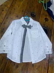 Camisa social infantil com gravata Tigor T Tigre (nova)