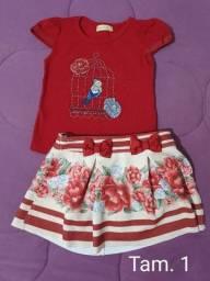Conjunto  de saia e blusa Menina tam. 1