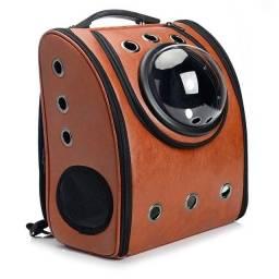Bolsa Mochila para Gato Cães em couro ecológico  astronauta
