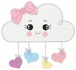 matriz de bordado - nuvem menina com laço e menino com boné